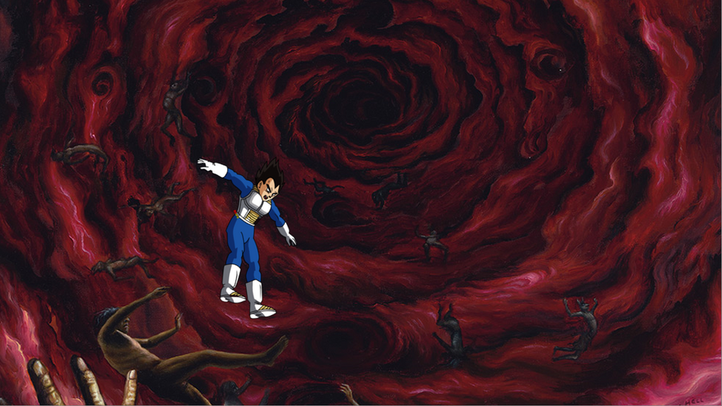 (Multiversal collapse Vegeta falling in hell by Cemal12