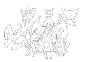 my favorite pokemons... line art only... by DantemaruXXX