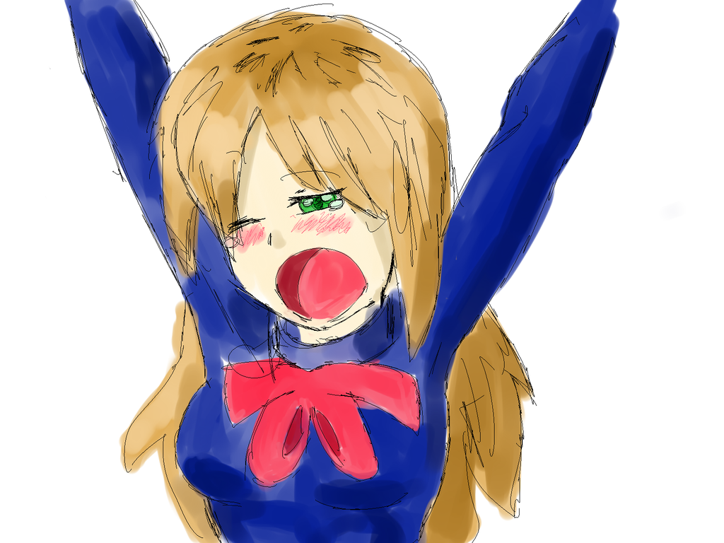 Random yawning anime school girl by PsychoZombii on DeviantArt