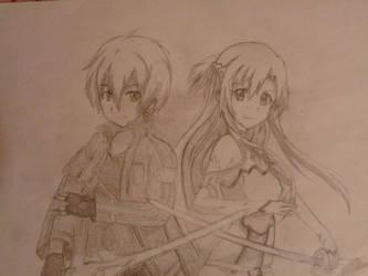 Kirito and Asuna (Sword Art Online) by cresping