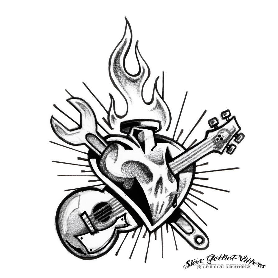 Rock N Roll Tattoo Ideas: Rock N Roll Heart By SteveGolliotVillers On DeviantArt
