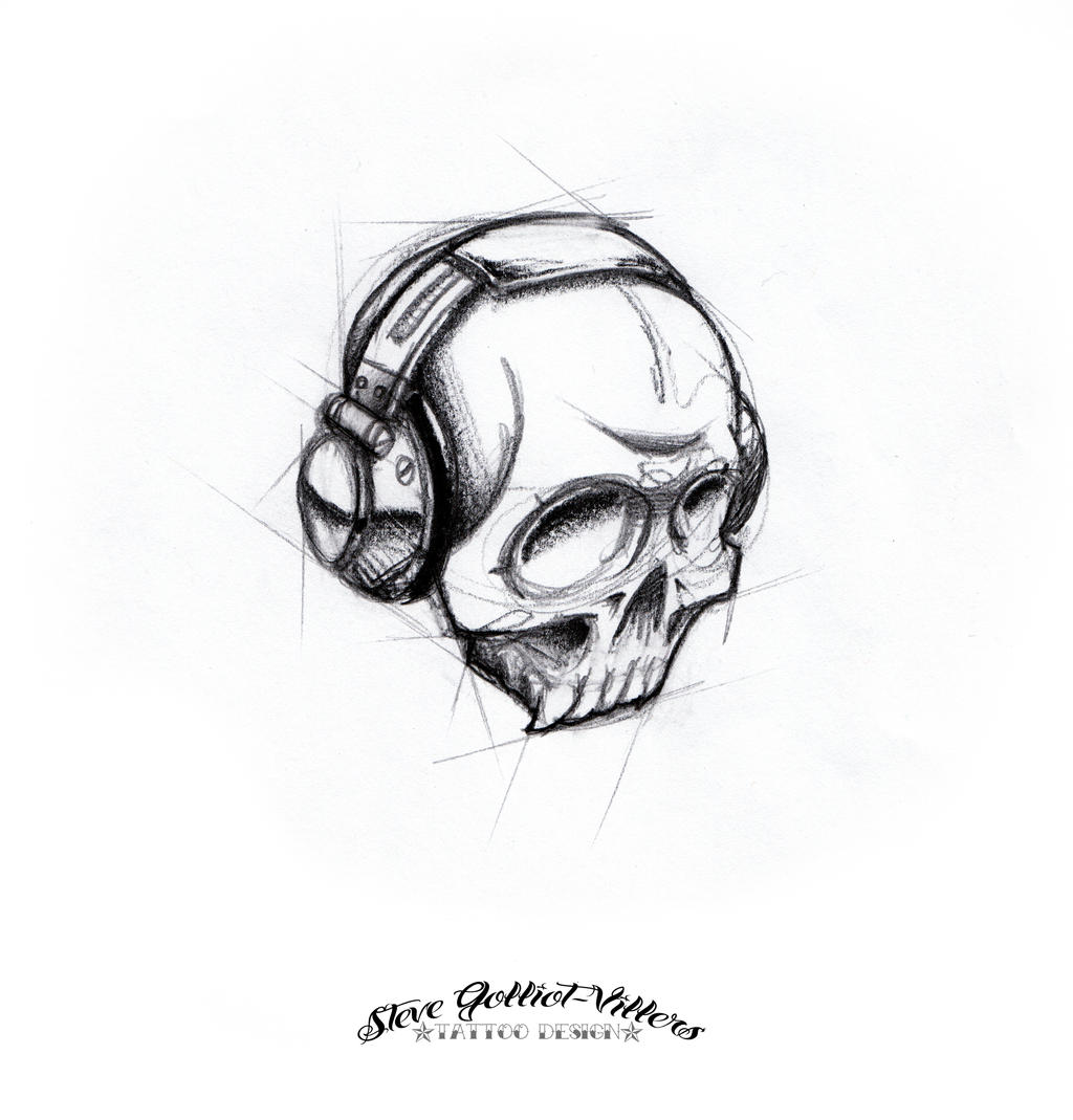 dj by stevegolliotvillers designs interfaces tattoo design skull dj ...