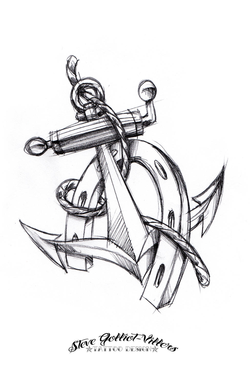 anchor and horseshoe tattoo sketch by stevegolliotvillers on deviantart. Black Bedroom Furniture Sets. Home Design Ideas