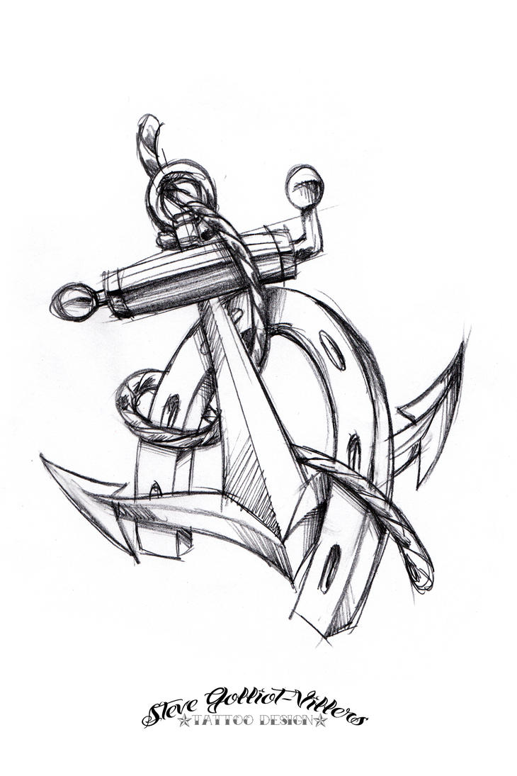 Anchor and horseshoe tattoo sketch by stevegolliotvillers for Black heart outline tattoo meaning