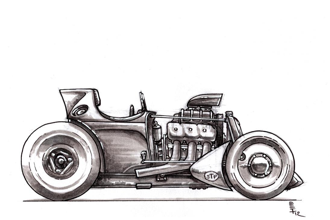 old school style racer sketch by stevegolliotvillers on. Black Bedroom Furniture Sets. Home Design Ideas