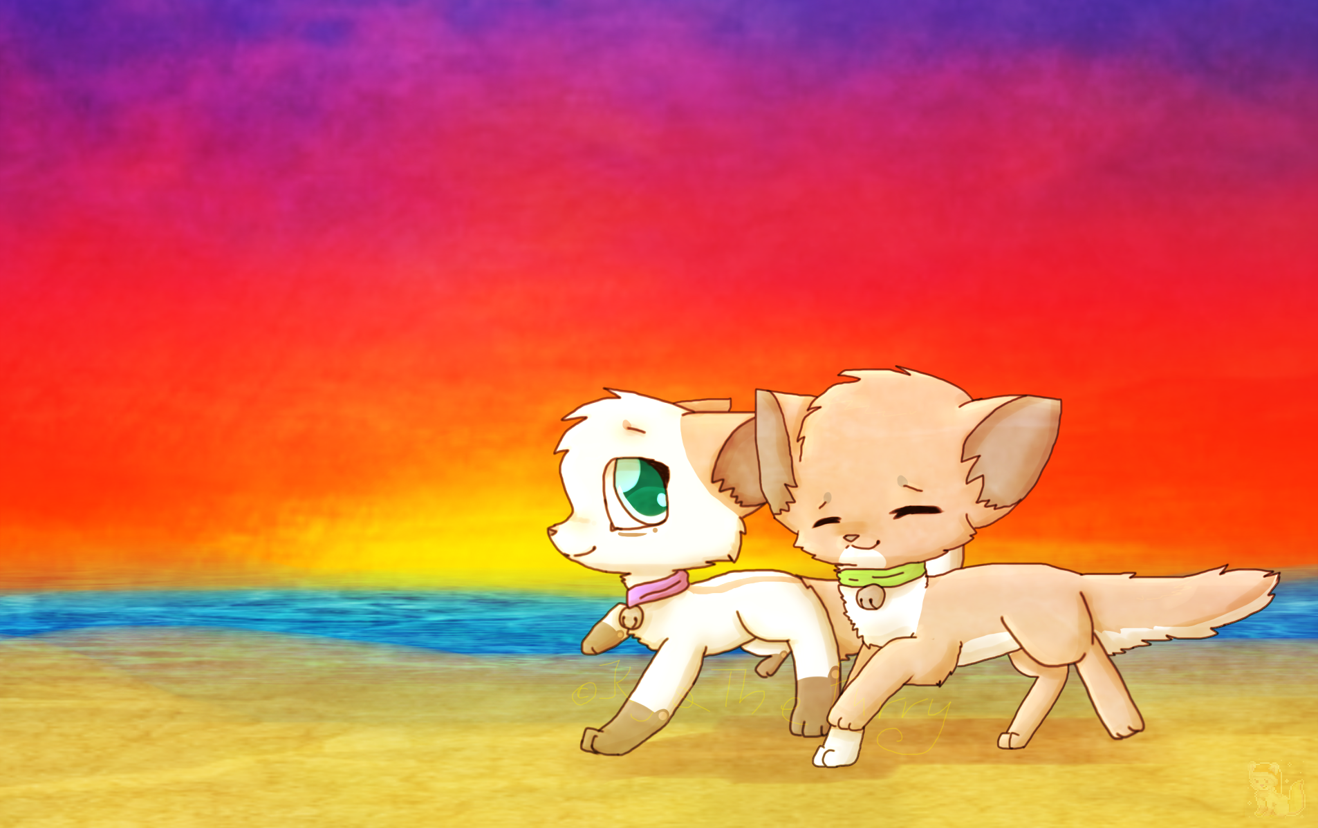 .:CE:. running with sister at sunset~ by KajaTheFurry