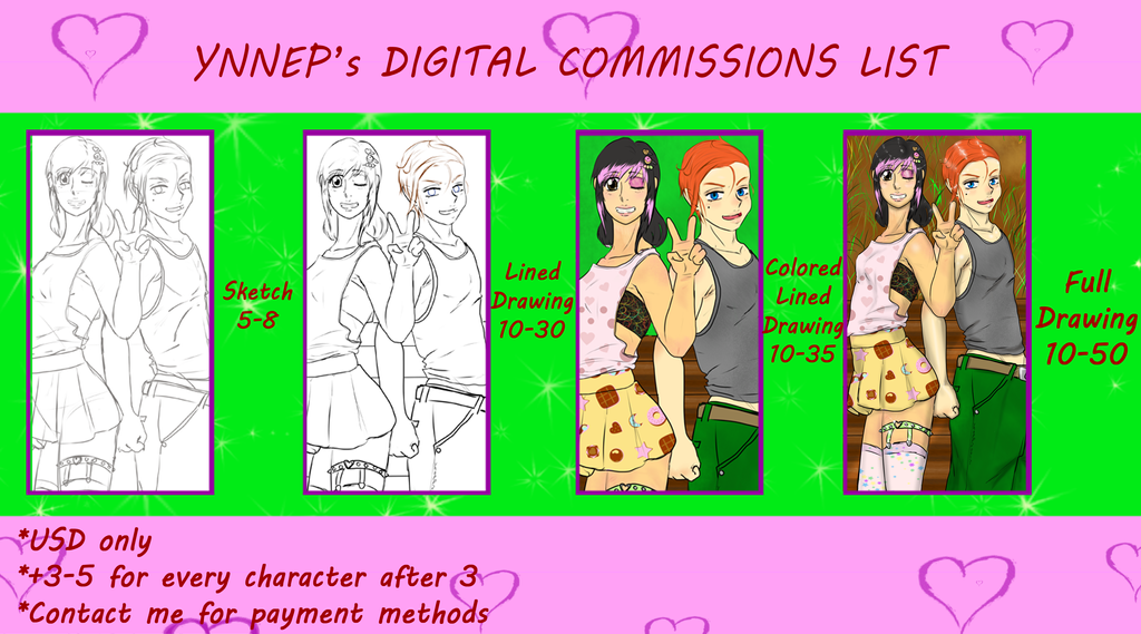 Commissions list 2014 by Ynnep