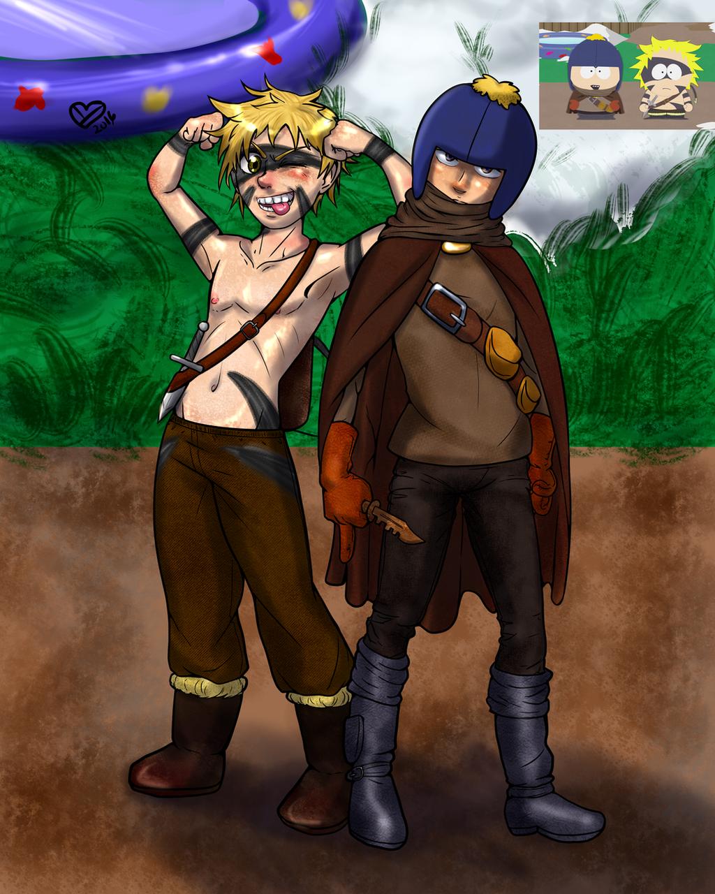 Feldspar the Thief and Tweek the Barbarian by Ynnep