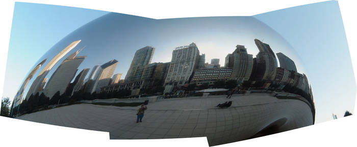 A Panoramic View of Cloud Gate