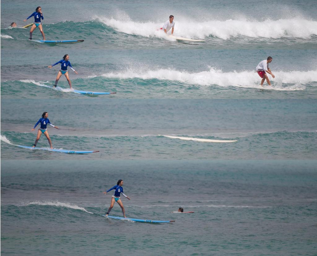 Blue Lady Surfing, Waikiki, 2006.9.1 by Dancing-Treefrog