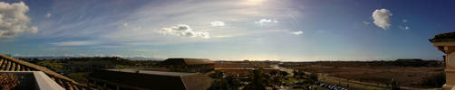 Morning Bank of Hawaii panorama 2013.1.15 by Dancing-Treefrog