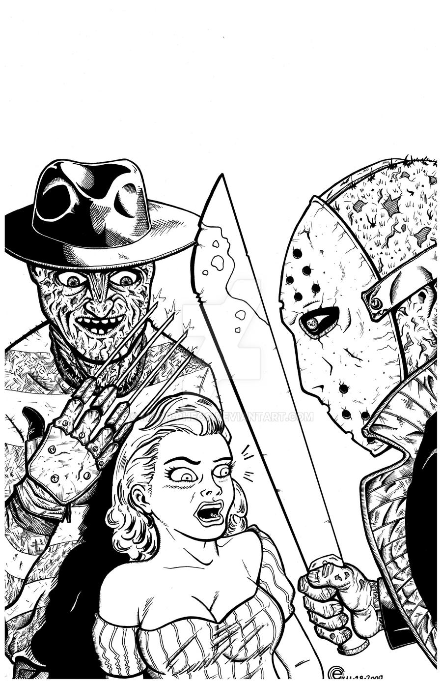 Freddy Vs Jason By Marr Pheos On Deviantart Freddy Vs Jason Coloring Pages