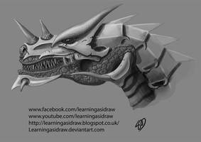 Armoured dragon head + video by Learningasidraw