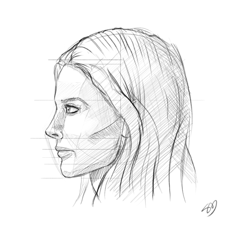 Scribble Drawing Of Face : Woman head profile sketch imgkid the image kid