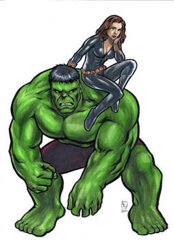 Hulk and Black Widow inked