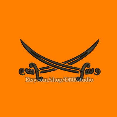 Pirate Sword Embroidery Design By Applique Machine On