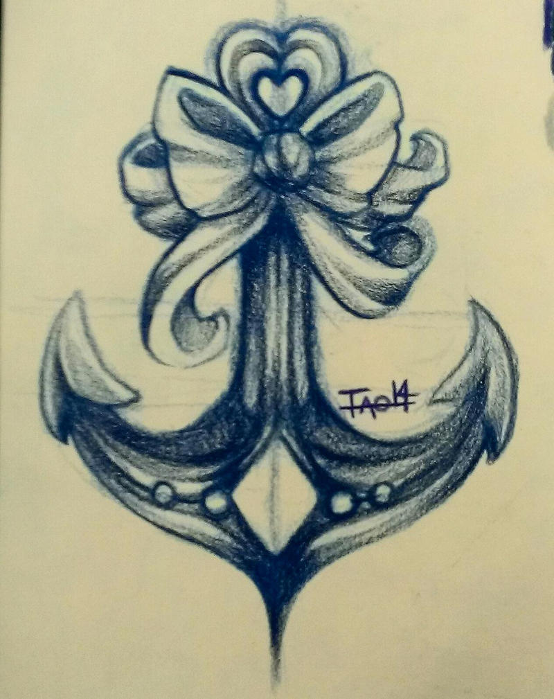 Tattoo Concept - Bow 'n Anchor by amymiu on DeviantArt  |Bow Tattoo Sketches