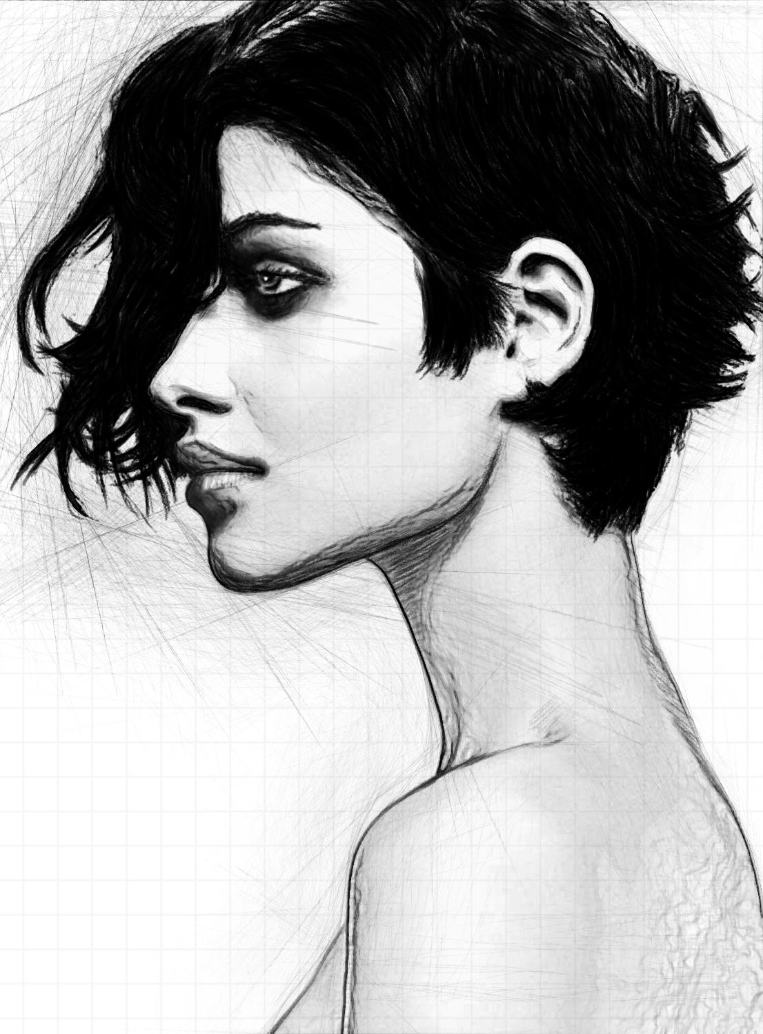 Sketch Profile - Asymmetric Hair