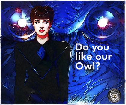 Rachael .. Do You Like Our Owl? .. corp badge