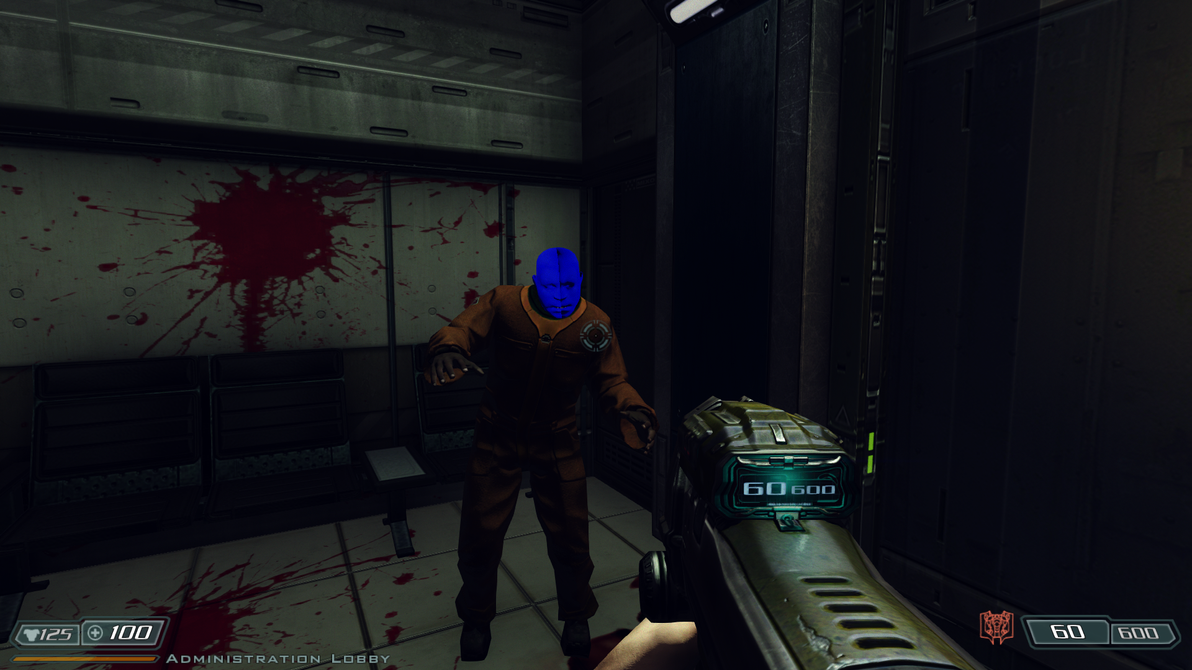 Blue Head Zombie Glitch on latest  BFG  Ed HD Mod by Hoover1979