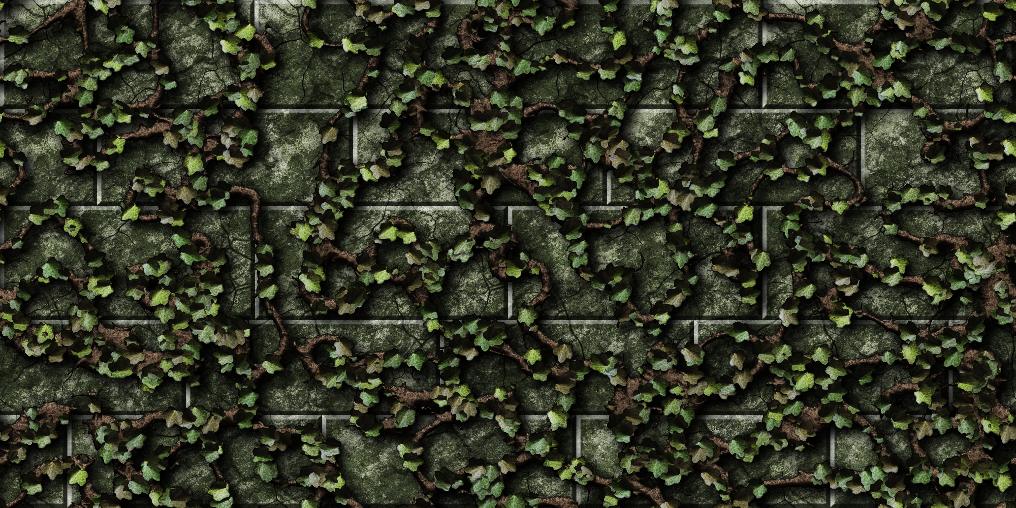 Green Bricks with Vines 01 by Hoover1979