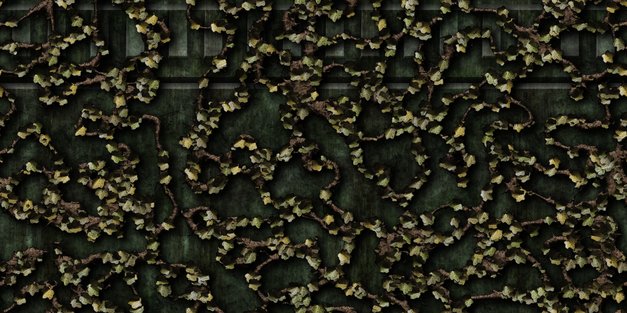 Green Cement Wall with Vines by Hoover1979