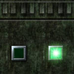 Green Cement Wall with Green Button Switch