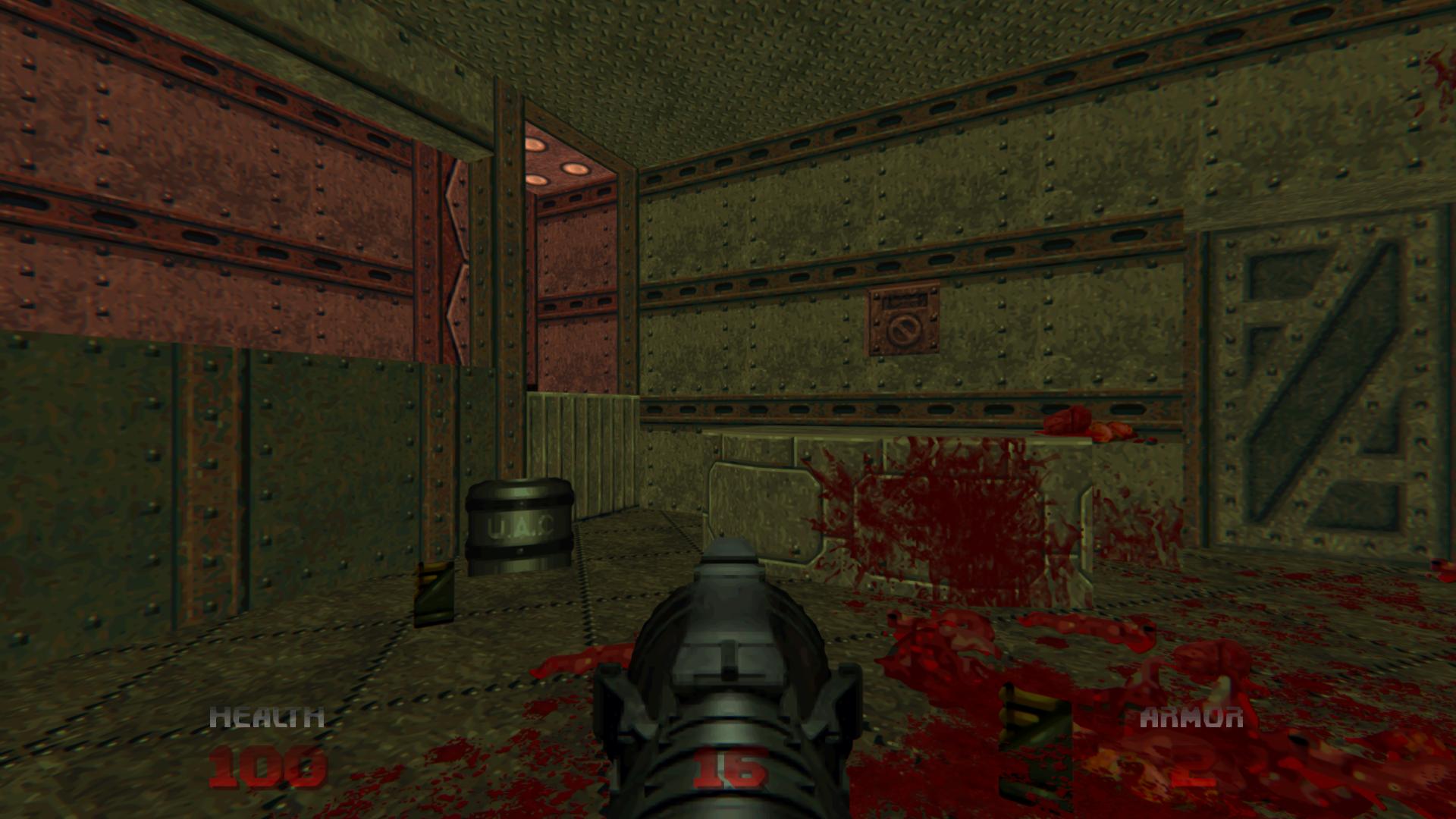 Sunken barrel glitch on Doom64 Retribution 02 by Hoover1979