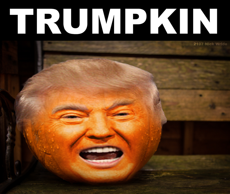 Sending up trump for Halloween (TRUMPKIN) by Hoover1979