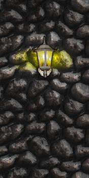 Cobble wall w/light