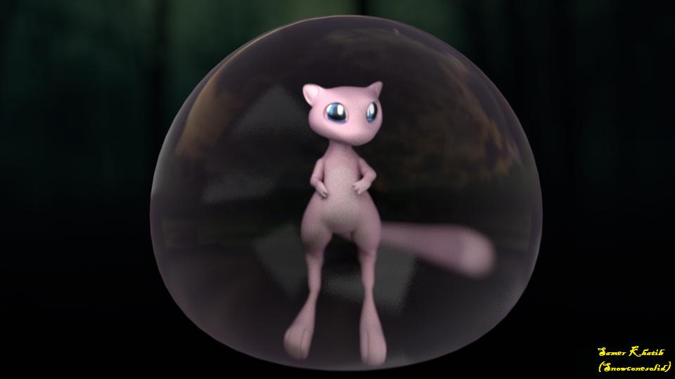 Mew (Pokemon fan art) by Snowconesolid
