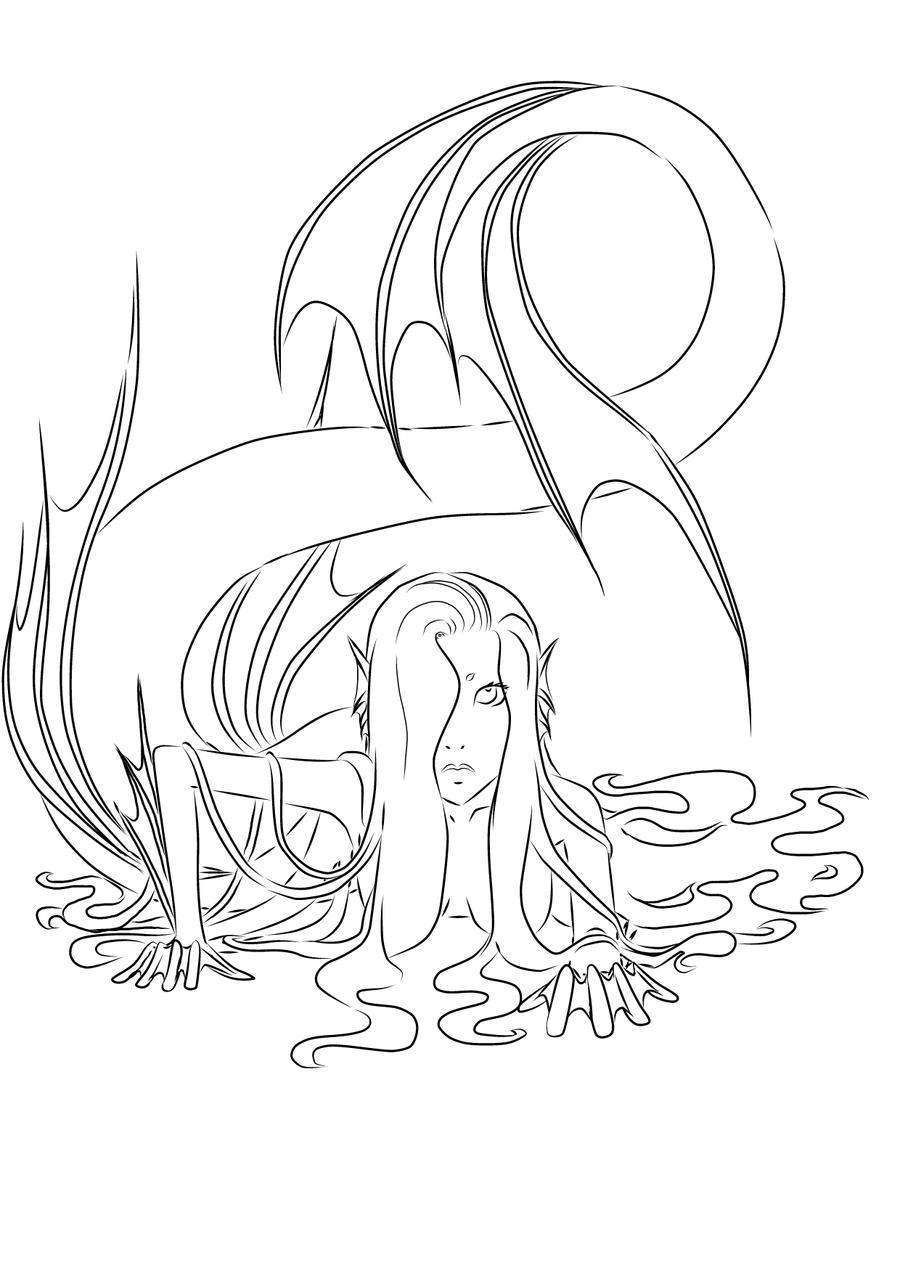 Line Drawing Mermaid : Mermaid lineart by seishinokami on deviantart