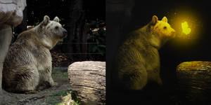 oso con efecto de resplandor e iluminacion