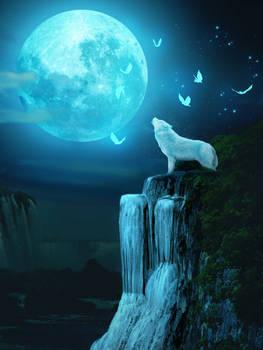 Lobo en la luz de la luna