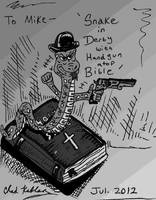 Snake in Derby With Handgun Atop Bible by LeevanCleefIII