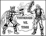 Thundarr Vs. Thor (Black and White Version)