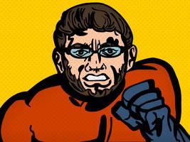 Comic Book Superhero Self-Portrait by LeevanCleefIII