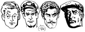 Alex Toth Studies (male faces) by LeevanCleefIII