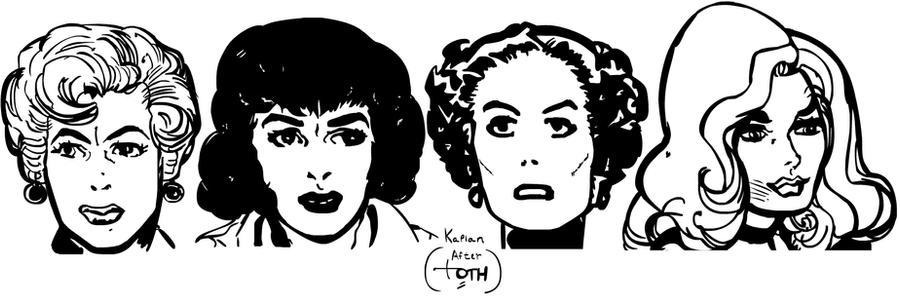 Alex Toth Studies (female faces) by LeevanCleefIII