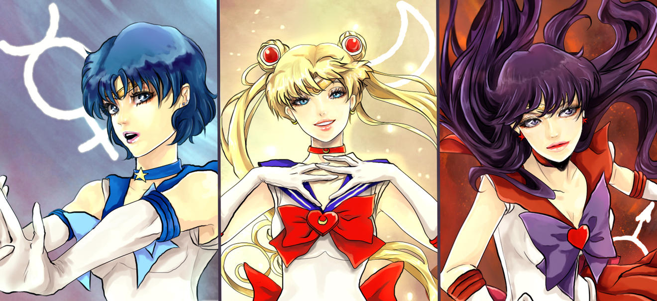 Three Sailor Warriors by Purple-Meow
