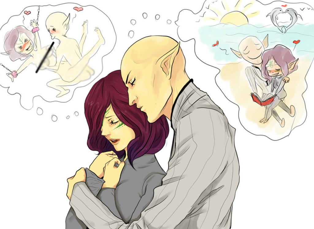 Solas X Lavellan - Sweet Dreams by Purple-Meow