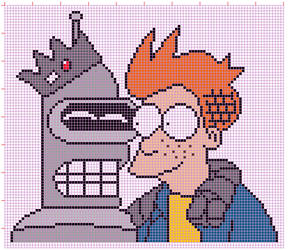 Bender and Fry in Riverdale - cross stitch pattern