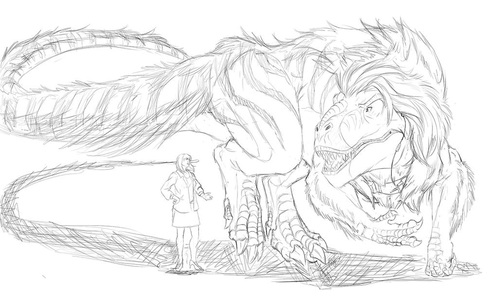 Fuzzy rex full body sketch by Ghostwalker2061