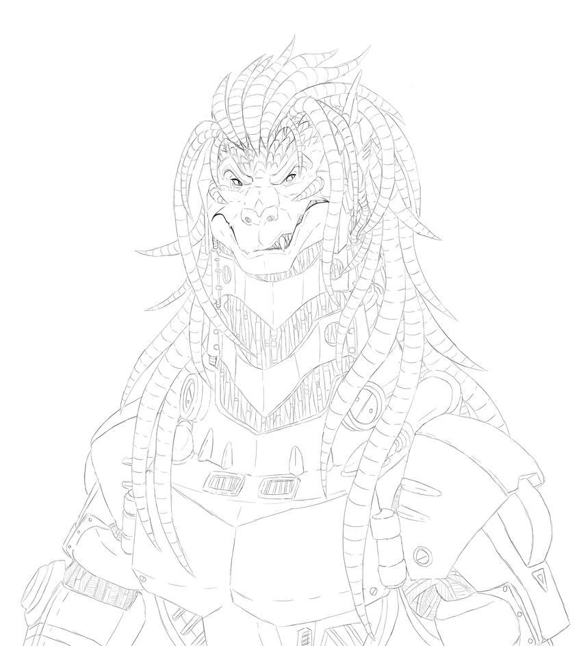 Reconstruction of Kiryuu sketch by Ghostwalker2061