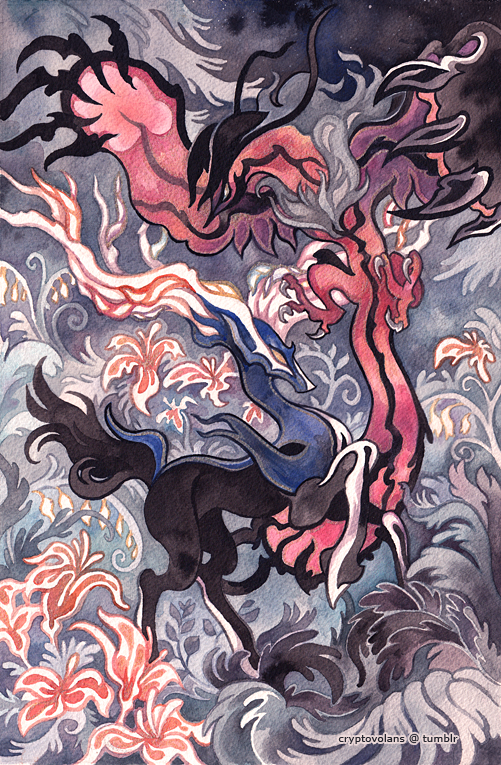 Xerneas and Yveltal by creepyfish on DeviantArt
