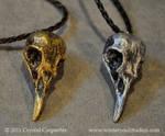 Gold and Silver Bird Skulls