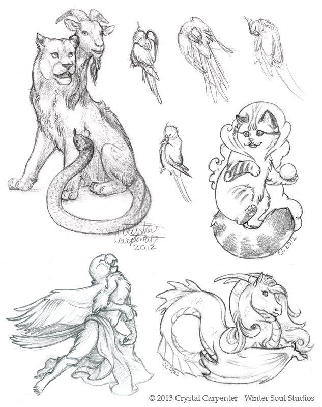 Late Night Sketchin'  - Chimera and Friends by soulofwinter