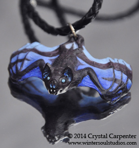 Bat Pendant - Dragonfly Blue by soulofwinter