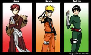 Gaara, Naruto and Rock Lee