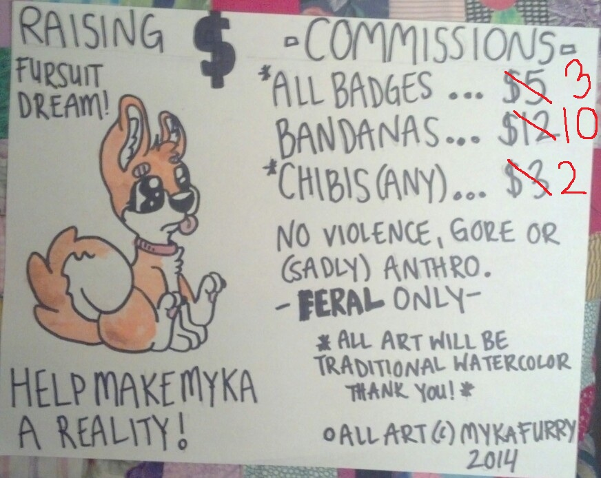 raising funds for myka shibe! prices lowered!!!! by MykaFurry